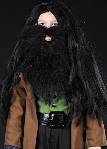 Struts Fancy Dress Enfants Hagrid Style Black Perruque touffue et Barbe