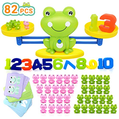 Bieyaaso 82 Pcs Cool Balance Counting Math Games for Girls & Boys, Number Educational Kindergarten Toy for Kids Fun Toddlers STEM Learning Tool Age 3+