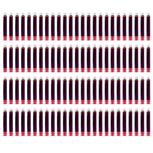 Cigopx Cartouches d'encre pour stylo plume 100 pièces Cartouche de recharge d'encre de couleur rouge avec diamètre d'alésage de 3,4 mm pour fournitures de papeterie d'école d'étudiant de bureau