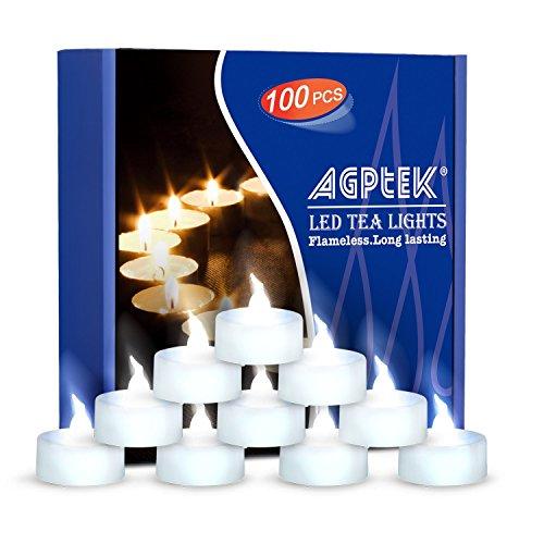 LED Kerzen 100 Stück flammenlose Teelichter elektrische Kerze mit Batterie, kaltweiß