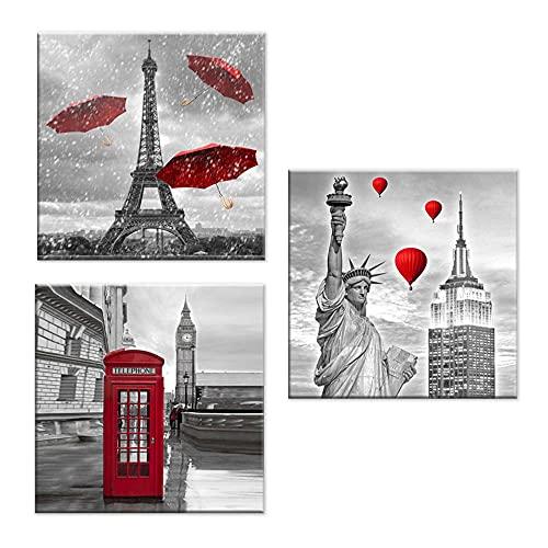 Lupia Juego de 3 cuadros sobre lienzo con temática de ciudad Canvas Day 38 x 38 cm City Red
