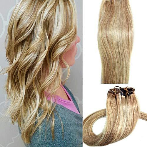 Myfashionhair Echthaar Extensions Blonde 15 Zoll 70g Clip für feines Haar vollen Kopf 7 Stück seidig gerade Schuss Remy Haar (15 Zoll, 27/613)