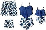Eghunooye Conjunto de bikini con volantes para mamá, hija, dos piezas, para el padre, el hijo, para la playa, para mujer, hombre, niño, niña Tuerca azul. L