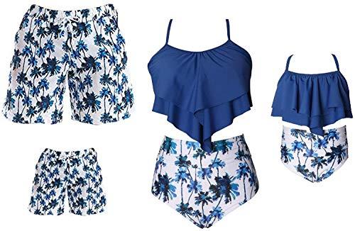 Eghunooye Familie Bademode Mama Tochter Zweiteiliger Rüschen Bikini Set Vater Sohn Swim Trunk Badeanzug Beach Wear für Damen Herren Kinder Junge Mädchen (Blau Mutter, M)