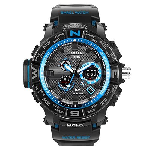 JTTM Reloj De Deportes Táctico Militares para Hombres Reloj De Ejército Digital Luminoso Reloj A Prueba De Agua Al Aire Libre Analógico con Retroiluminación De Alarma Cronómetro,Black Blue