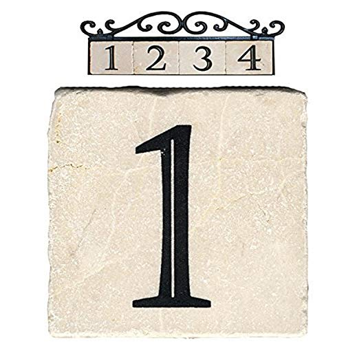NACH AZ-CLASSIC House Address Number Tiles - #1, Marble/Beige, 4 x 4