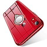 BOMIZI iPhone XR Hülle Klar Dünn Schutzhülle Weiche Silikon TPU Case Handyhülle mit 360 Grad Ring Stand für Magnetische Autohalterung, Transparente Stoßfest iPhoneXR Cover - Rot