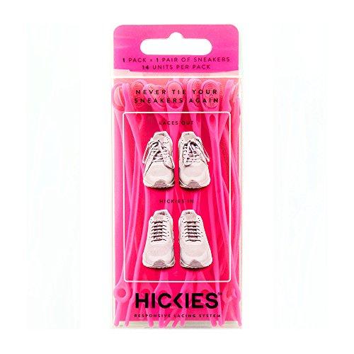 Hickies elastische Schnürsenkel, Einheitsgröße, kein Schnüren erforderlich - neonpink