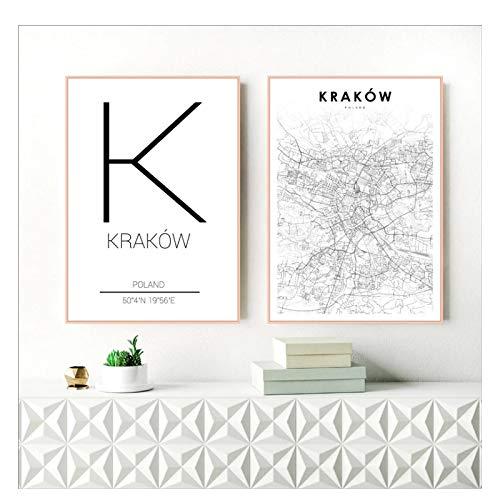 Kraków Kraków ulica miasta mapa plakat na płótnie malarstwo wydruki artystyczne dla polski salon Home Decor -20X28 cali bez ramki 2 szt
