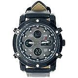 Joseph James 50mm Luxury Water Resistant Leather Watch (Black/Black)