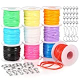 PP OPOUNT 10 Pack Plastic Lacing Cord Bracelet String for Jewelry Making Supplies with Snap Clip Hooks and Lobster Clasps (10 colors)