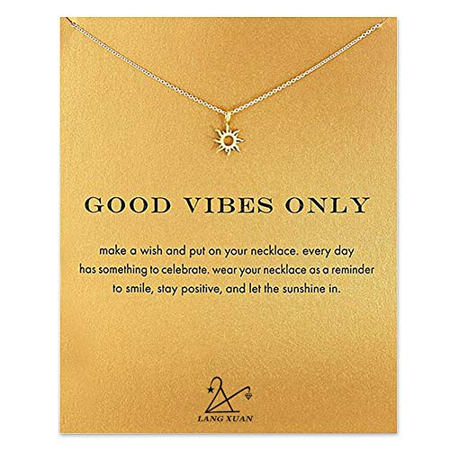 LANG XUAN Friendship Sun Necklace Lucky Elephant Star Pearl Circle Pendant Necklace for Women Gift Card Gold
