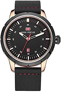 Mini Focus Casual Watch for Men , Analog , Leather Strap , Black , MF0014G-01