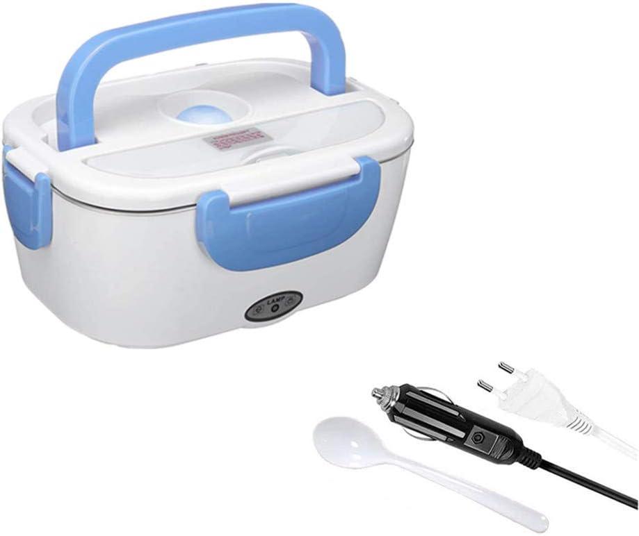 Térmico Lunch Box 2 in 1 Fiambrera Eléctrica Calentador de Comida Electrico con Bandeja Extraíble de Acero Inoxidable para automóvil 12V, familia 220V 40W(Azul)