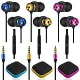AFUNTA Auriculares de 3 piezas con micrófono y control de volumen, aislamiento de ruido para Sony, Samsung, tableta y portátil, con 3 unidades de almacenamiento - amarillo/azul/rosa rojo