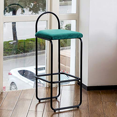 WJT-Barstool Bar Stool Modern Minimalist Light Luxury High Stool Chair Metal Wrought Iron Home Creative Personality Bar Chair Size: 39×37×92.5cm (Color : Dark Green)