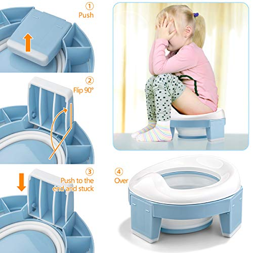 Potty Training Toilet Chairs 3-in-1 Travel Potty Seat Trainer Portable Foldable WC Trainer Ring Seats Detachable Reusable Liner Suitable for Toddler Boys Girls with Splash Guard Easy to Clean