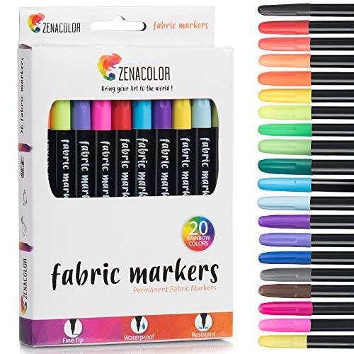 Zenacolor 20 Textilstifte - Ungiftig, waschfeste und permanente Stoff Marker Stifte mit spitzer Mine - Stoffmalstifte ideal für T-Shirts, Stofftaschen und andere Textilien