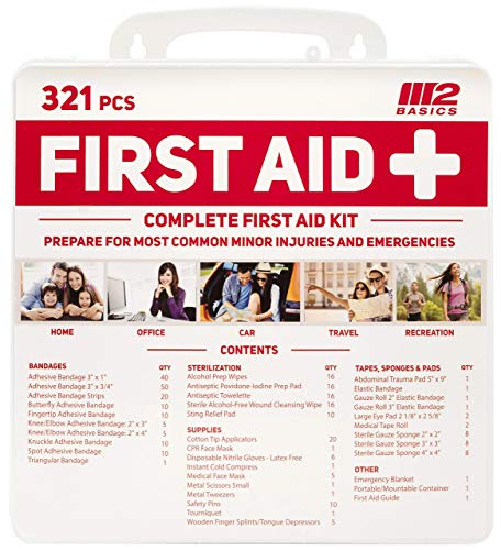 M2 BASICS 321 Piece Emergency Survival First Aid Kit | Medical Supply | Home, Office, Outdoors, Car, Camping, Travel