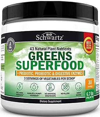 Chlorophyll Rich Super Greens Organic Powder with Probiotics Prebiotics & Digestive Enzymes - 43+ Green Superfoods Alfalfa Bilberry Spirulina Chlorella - Dr Approved Keto Friendly Vegan Supplement from Bioschwartz