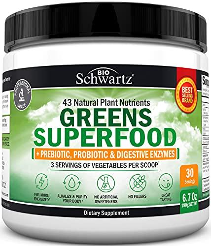 Chlorophyll Rich Super Greens Organic Powder with Probiotics Prebiotics & Digestive Enzymes - 43+ Green Superfoods Alfalfa Bilberry Spirulina Chlorella - Dr Approved Keto Friendly Vegan Supplement