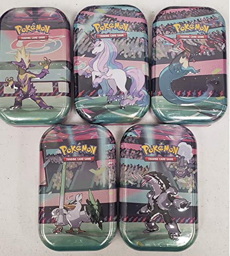 Pokemon Galar Power Mini Booster Tins Set - All 5 Characters! 10 Booster Packs | Includes Rapidash, Obstagoon, Sirfetch'd tins and More!
