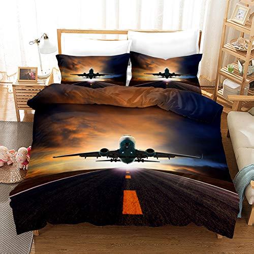 Plane dekbedovertrek set Enkel Dubbel Grootte Aviation Flight Vliegtuigen microfiber Cool Aviation Trooster Cover Bedding Sets met 2 kussenslopen,C,240x220cm