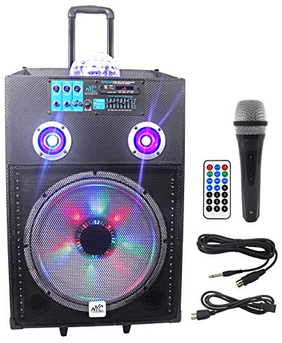 Why Should You Buy NYC Acoustics N15BR 15 600w Rechargeable Powered Bluetooth Party Speaker w Mic