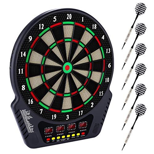 Elektronische Dartscheibe Dardboard mit 4 LCD-Anzeige, 6 Dartpfeilen| 27 Spiele mit 243 Spieloptionen Profi Elektronik Dartspiel E Dartautomat (Plaid)