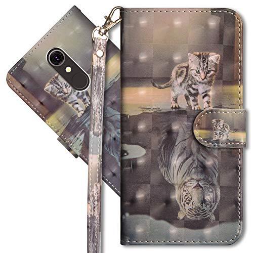 MRSTER LG Q7 Handytasche, Leder Schutzhülle Brieftasche Hülle Flip Hülle 3D Muster Cover mit Kartenfach Magnet Tasche Handyhüllen für LG Q7. YX 3D - Cat Tiger