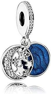 Romántico Amor Vintage Night Sky Pendant Charm Twinkling Star Moon Silver Bead fit Pandora Bracelets