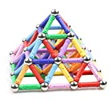 Veatree 62 Pcs Magnetic Building Sticks Blocks Toys, Magnet Educational Toys Magnetic Blocks Sticks Stacking Toys Set for Kids and Adult, Non-Toxic Building Toy 3D Puzzle with Storage Bag