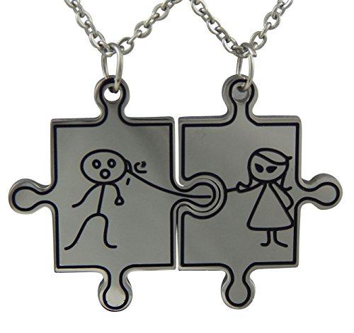 Hanessa Colgantes de 2 piezas de acero inoxidable para parejas, diseño de piezas de puzzle, con 2 cadenas, color plateado, perfecto para regalo