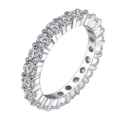 AoedeJ Rotondo CZ Argento Sterling Finto Diamante Eternity Anello per Anelli, FEDI Nuziali (11,5)