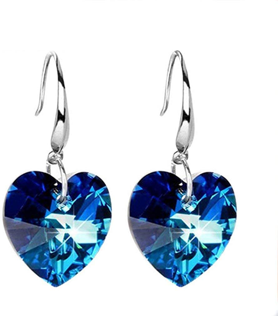 Yevison 1Pairs New Sale Special Price mail order Hook Earring Clip Woman St Heart Ear Elegant Blue