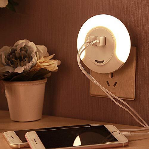 Led-nachtlampje met 2 USB voor het opladen en schemeringssensor, 3 modi: auto/on/off, voor kinderkamer/babynachtkastje