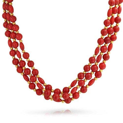 Bling Jewelry Tre Multi-Trefolo Rosso Arancio Tinto Corallo Filamento Barocco Collana di Perle per Donne Placcato Oro Distanziatore