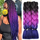 Xtrend 5Pcs 3 Tone Jumbo Braiding Hair 24 Inch Synthetic Ombre Braiding Hair Extension for Box Braids and Twist Crochet Braids Hair 100g/pc (5 Pieces, Black/Purple/Blue#)