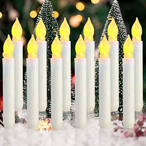Homemory 12PCS Flameless LED Taper Candles Lights, Battery Operated Candlesticks with Warm Yellow Flickering Flame, 0.79 x 6.5 Inches Dripless Fake Floating Taper Candles