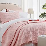 SunStyle Home Quilt Sets Queen Pink Lightweight Bedspread Soft Reversible Coverlet for All Season 3pcs Leaf Embroidered Quilted Bedding Sets (1 Quilt 2 Pillow Shams)(90'x96')