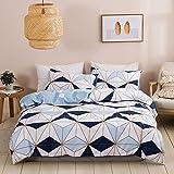 N/C Juego de ropa de cama de 135 x 200 cm, diseño geométrico de 2 piezas, reversible, microfibra,...