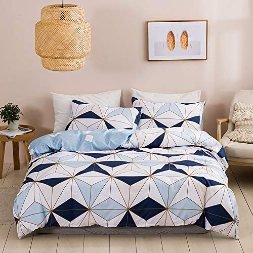 N/C Ropa de cama de microfibra, 135 x 200 cm, color blanco y negro, 2 piezas, con cremallera, diseño a cuadros, funda de edredón, 1 funda de almohada de 80 x 80 cm