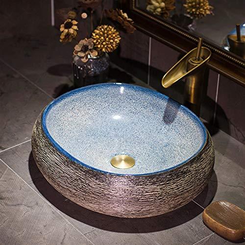 Slivy Embarcaciones encimera Lavabo de cerámica lavamanos Gloss óvalo Azul Fregadero diseño Curvo Lavabo de la Vendimia for baño Guardarropa Oficina Lavabo, Estrellada patrón Cielo, de 19 Pulgadas