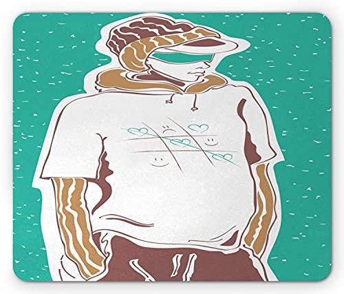 N\A Alfombrilla de ratón Tic TAC Toe, boceto de Moda callejera con diseño de Camiseta Cool Boy, Alfombrilla Rectangular de Goma Antideslizante, marrón Turquesa estándar