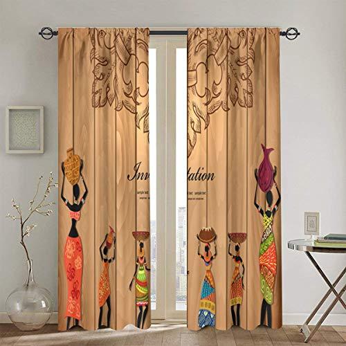 MAYUES Vorhang Blickdicht,Afrika Mädchen auf Holz Textur für Ihr Design,Wärmeisolierend Gardine 2er Set130cm X 180cm