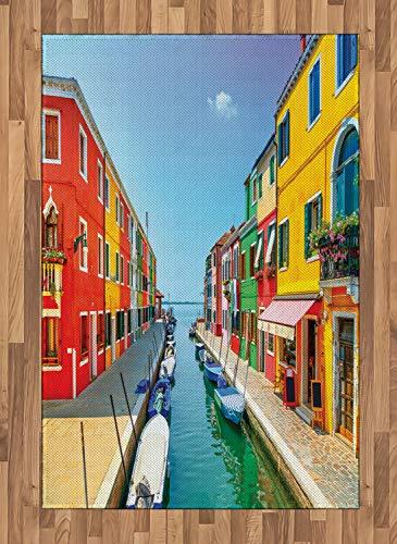 ABAKUHAUS Stadt-Liebe Teppich, Urbanes Leben mit Booten, Deko-Teppich Digitaldruck, Färben mit langfristigen Halt, 120 x 180 cm, Mehrfarbig
