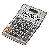 CASIO Tischrechner MS-80B, 8-stellig, Steuerberechnung, Quadratwurzel, Aluminiumfront, Solar-/Batteriebetrieb