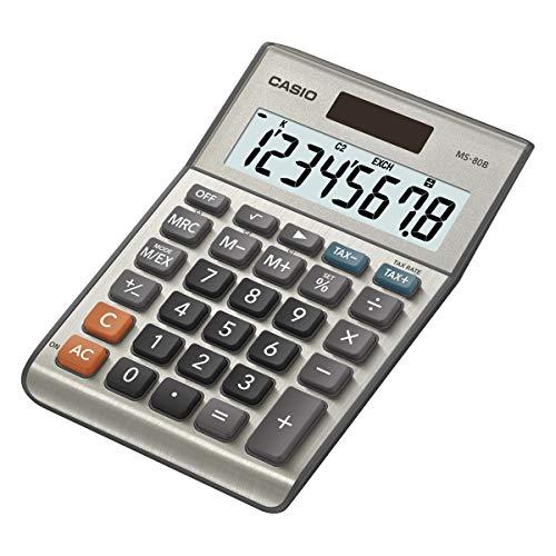 Casio MS-80B - Calculadora de mesa (8 cifras, calcula cambio de divisa, función de raíz cuadrada, modelo posterior a MS-80S), color plateado