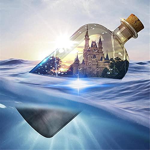 5D Diamond Painting Kits Taladro Completo Castillo en una botella DIY Pintura de Diamante Bordado de Diamantes de Imitación Punto de Cruz Arte Home Deco Diamante Redondo 60x60cm