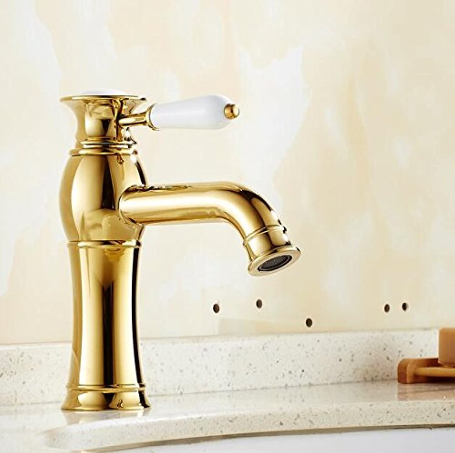 Makej golden Polished Bathroom Basin Faucet Mixer Tap Hot and Cold Mixer Brass Faucet for Basin Sink Tap